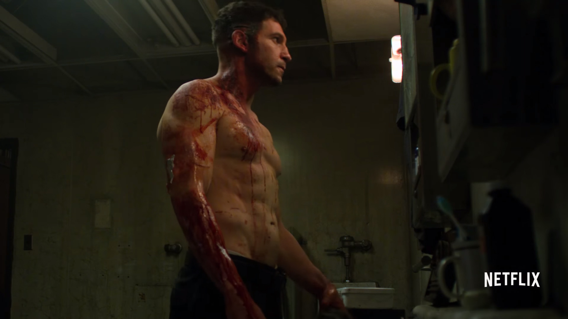 punisher shirtless